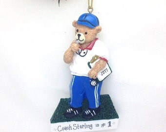 CLEARANCE: Coach Personalized Christmas Ornament - Coach Ornament  - Teddy Bear Ornament - Personalized Christmas Ornament