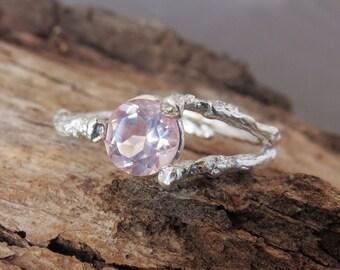 Rose Quartz Engagement Ring, Rose Quartz Ring, Pink Stone Ring, Nature Engagement  Ring, Twig Engagement Ring, 14k Gold Rose Quartz Ring
