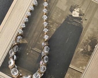 1930s Crystal Brass Gear Necklace