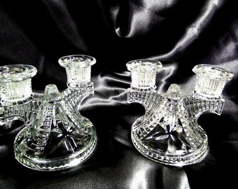 Federal Glass Wigwam Crystal Double Candle Holder, circa 1938-1945