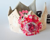 Dress Up Crown - Fairy Tale Castles and a Liberty Print Flower - Pretend Play - Birthday