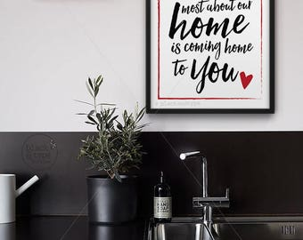 Coming Home To You || home sweet home, home print, home art, me and you, anniversary gift, military quote, red typography art, housewarming