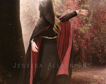 fantasy woman and owl art print by Enchanted Whispers