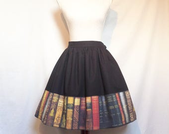 Sew Academic...Vintage Library and Black Cotton Skirt Made to Order