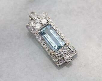 Breathtaking Diamond Encrusted Aquamarine Pendant in Platinum WQVPPK-N