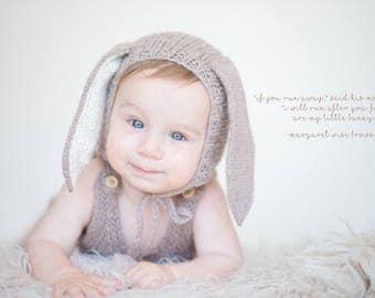 Bunny Bonnet Photography Prop - Newborn 3-6 months 6-12 months Sitter Bunny Rabbit Bonnet - Bunny Knit Bonnet Prop - Made to Order