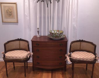 Pair of French Barrel-Back Cane Louis XVI style Chairs