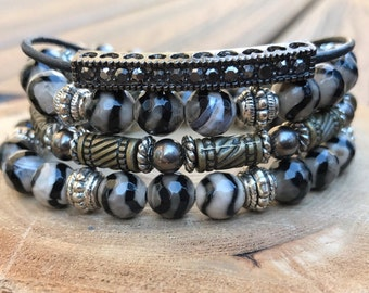 Black and White Tibetan Agate Beaded Stretch Bracelet Set