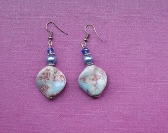 Light blue earrings, vintage earrings, romantic earrings, patterned shell earrings, blue jewellery, blue jewelry, blue drop earrings