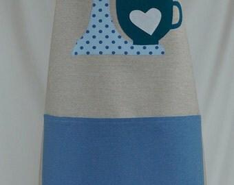 Apron handmade, gift for her, blue dots kitchenaid appliqué