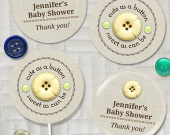 "Cute as a Button Baby Shower Party 2"" Round Images, Editable PDF Instant Download for stickers, tags, buttons, cupcake toppers"