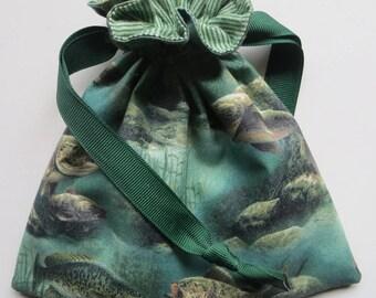 Fish - Lined Drawstring Fabric Gift Bag