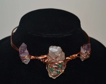 Clear Quartz, Green Agate, and Amethyst Statement Choker Necklace