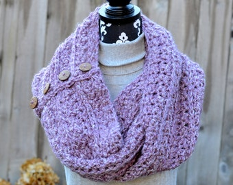 Lilac and White Cowl with Wooden Buttons Ready to Ship
