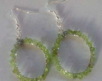 Peridot Earrings,Peridot Hoop Earrings, Oval Hoop Earrings