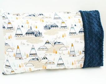 Travel or Toddler Size Pillowcase - Tepee Pillow - Cotton and Minky Pillowcase - For 12x16 Or 13x18 Inch Pillow - Indian Summer Fox Fabric