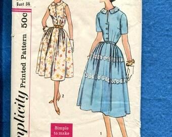 1960's Simplicity 2461 Classic Shirtwaist Front Button Dress Pattern Size 18
