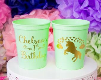 Unicorn Birthday Cup, Unicorn Party, Unicorn Baby Shower, Rainbow Birthday, Unicorn Theme Birthday, Magical Unicorn, First Birthday Cup
