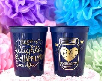 Custom Cup, Mason Jar, Personalized Wedding Cup, Personalized Favor, Party Cup, Custom Stadium Cup, Plastic Cup, Rustic Wedding, Table Decor