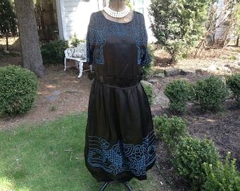 1920s Vintage Dress Black with Gorgeous Turqouise Hand Beading Downton Abbey