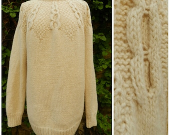 60s WOOL hand knitted SOFTEST crew neck cream cable knit ribbed fishermans sweater jumper M ~ L