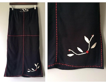 Vintage Embroidered Black Skirt with Red and Off White Stitched Embroidery Long Max Embroidered High Waist Slits Size Medium 6 8 Colombian