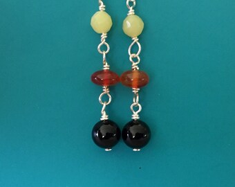 Onyx Carnelian Serpentine Earrings