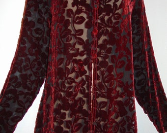 Laura Ashley vintage, unworn Christmas 97 luxurious devore silky velvet blouse, size Large