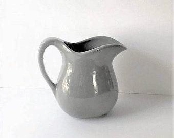 Gray Pottery Pitcher / Gray Ceramic Water Pitcher / Grey Pitcher