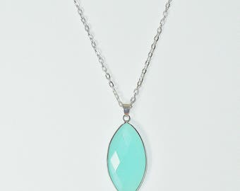 Beautiful Beachy Turquoise Blue Stone Pendant on Silver Chain