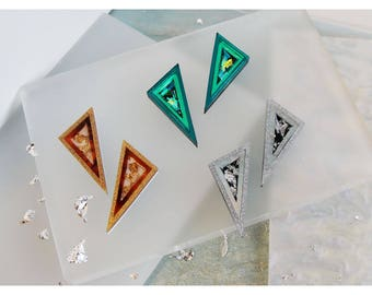 Slice Stud Earrings. Triangle Statement Studs. Laser Cut Acrylic Perspex. Marbled Geometric Tortoiseshell Glitter Holographic Iridescent