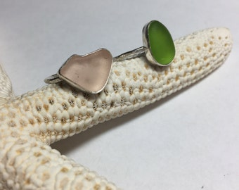 Sea Glass Ring Sz 6 Mermaid Jewelry Hammered Sterling Silver