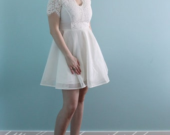 Short Knee Length Ivory Lace Wedding Dress - wedding party dress-White Mini dress