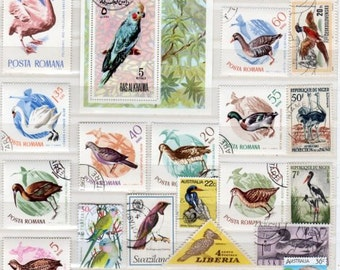 Lot 60 BIRD Stamps, Stamp Collection, Stamps, Postage Stamps,Lot Bird Stamps Bird Postage Stamps,Decoupage, Birds, Scrapbooking