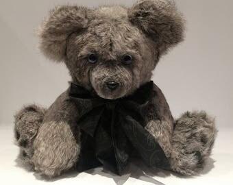 Real Fur Teddy Bear, Handmade Teddy Bear, Grey Fur Teddy, Teddybear, Recycled Fur, Pepper, the Speckled Grey Cream Rabbit Fur Teddy Bear