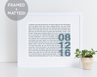 Framed Wedding Song Lyrics, First Anniversary Paper Gift, Gift for Her, Gift for Him, Personalized Print, Unique Wedding Gift