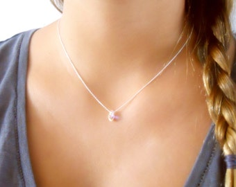 Dainty Sterling Silver Necklace With A Swarovski Drop Bead, Layering Necklace,Delicate Silver Necklace, Silver Bead Necklace #310