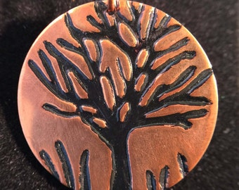 Pendant - Copper Pendant with Hand Stamped and Enameled Metal Tree - FREE SHIPPING