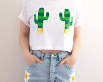 Cactus Crop Top Festival Clothing Summer T-shirt 90s Grunge Pastel Goth Gift For Her S/M/L/XL