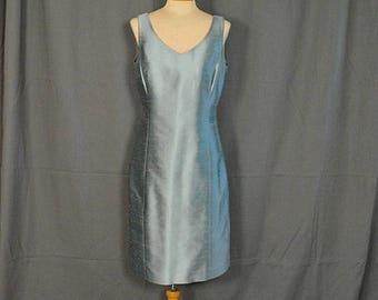Vintage 90's Sleeveless V-neck Silk Sheath by Ann Taylor, Size 12