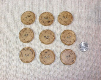 "Wood Buttons - 9 Hickory Tree Branch Buttons 1 1/2""  Great for Knitting, Crochet, Crafts, Fiber Arts Embellishments, 2 Holes"