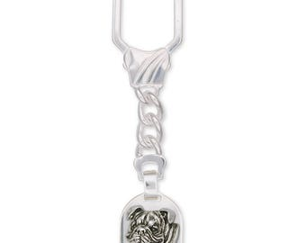 Bulldog Key Ring Jewelry Sterling Silver Handmade Dog Key Ring BD7-KRE