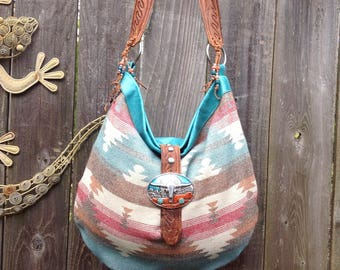 SouthWestern Native American Aztec  Longhorn  Turquoise Leather Hobo Bag with Repurposed Findings