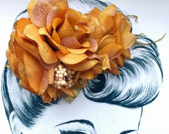 Copper Canyon Pin Up Hair Flower Vintage Autumn
