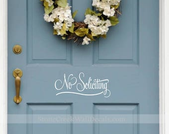 No Soliciting door decal  No Soliciting Front door decal door decal  no soliciting decal  vinyl decal  door decor  door sticker