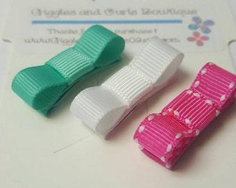 Pink, aqua and white hair clip set  - baby hair clips - baby hair bows - small hair bows - newborn hair clips - newborn hair bows