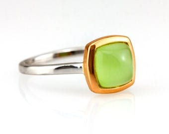 Square 14k gold and silver Green peridot stone ring - Lime Green gemstone square ring - Anniversary gift