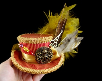 Red and Gold Steampunk Mini Victorian Riding Hat Fascinator, Marie Antoinette, Alice in Wonderland Mad Hatter Tea Party, Derby Hat
