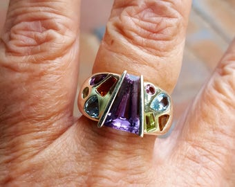 LAYAWAY PAYMENT #3 for joyce only 3/30 healing chakra ring size 8 3/4 1970's 7ct BEZEL set genuine natural multi gem designer sterling ring