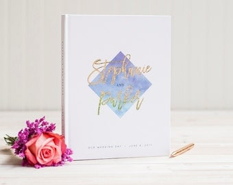 Wedding Guest Book with real Gold Foil wedding guestbook ombre watercolor custom guestbook album ...